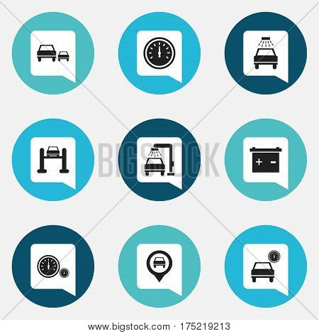 Set Of 9 Editable Vehicle Icons. Includes Symbols Such As Accumulator, Vehicle Wash, Car Lave And More. Can Be Used For Web, Mobile, UI And Infographic Design.