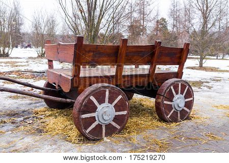 Carriage of the countryside. Wagon for hay transport.