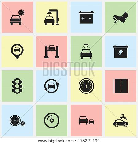Set Of 16 Editable Traffic Icons. Includes Symbols Such As Highway, Treadle, Accumulator And More. Can Be Used For Web, Mobile, UI And Infographic Design.