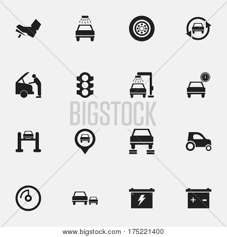 Set Of 16 Editable Traffic Icons. Includes Symbols Such As Car Lave, Accumulator, Stoplight And More. Can Be Used For Web, Mobile, UI And Infographic Design.