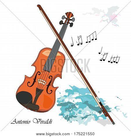 The violin as a symbol of Venice Antonio Vivaldi. Vector illustration background or post card