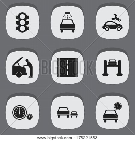 Set Of 9 Editable Vehicle Icons. Includes Symbols Such As Stoplight, Auto Service, Race And More. Can Be Used For Web, Mobile, UI And Infographic Design.