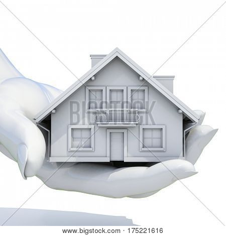 3d render: Close up of  Hands Holding Model House on White Background, Architecture, Building, Construction, Real Estate and Property Concept