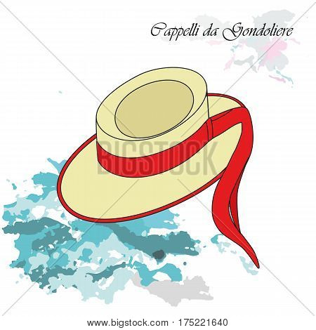 Vector illustration background or post card with traditional hat of gondolier