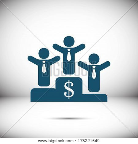 winners on the podium icon stock vector illustration flat design