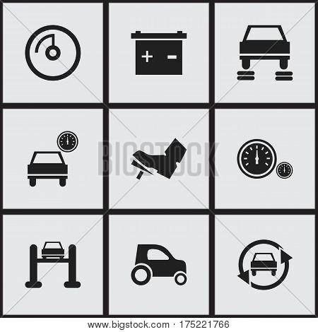 Set Of 9 Editable Car Icons. Includes Symbols Such As Auto Service, Accumulator, Treadle And More. Can Be Used For Web, Mobile, UI And Infographic Design.