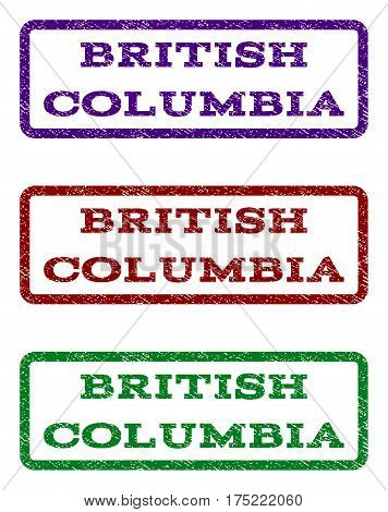 British Columbia watermark stamp. Text caption inside rounded rectangle frame with grunge design style. Vector variants are indigo blue, red, green ink colors. Rubber seal stamp with dirty texture.