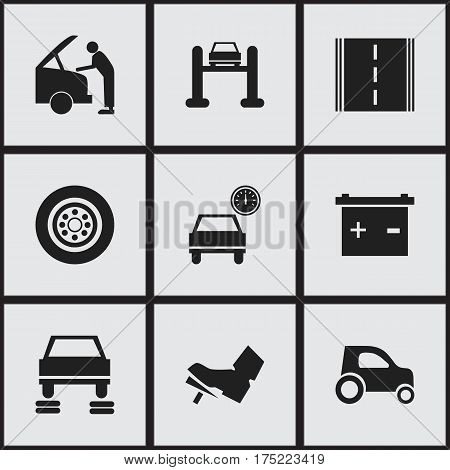 Set Of 9 Editable Car Icons. Includes Symbols Such As Auto Repair, Treadle, Accumulator And More. Can Be Used For Web, Mobile, UI And Infographic Design.