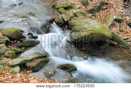 Beautiful clear Satina brook in Beskydy mountains, Czech Republic