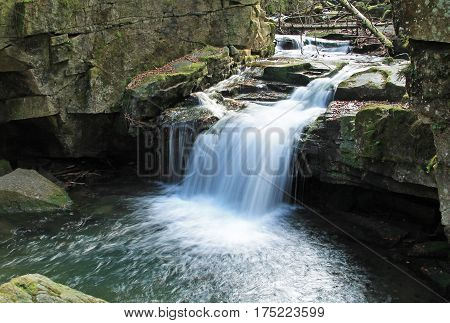 small waterfall on Satina brook in Beskydy mountains, Czech Republic