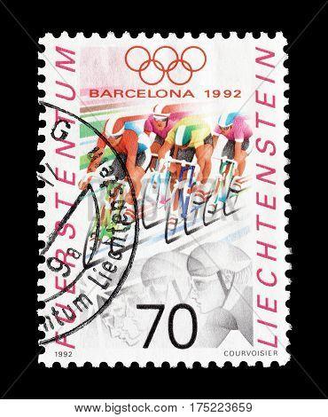 LIECHTENSTEIN - CIRCA 1992 : Cancelled postage stamp printed by Liechtenstein, that shows Cycling.