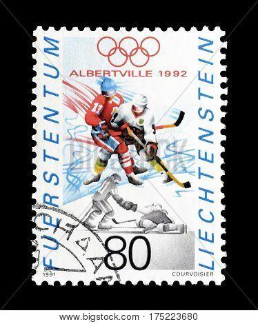 LIECHTENSTEIN - CIRCA 1991 : Cancelled postage stamp printed by Liechtenstein, that shows Hockey.