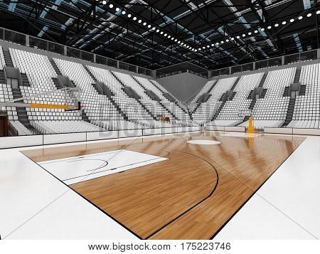 3D Render Of Beautiful Sports Arena For Basketball With Floodlights And White Seats And Vip Boxes