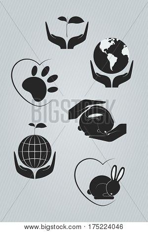 Set of dark ecology icons. Vector illustration