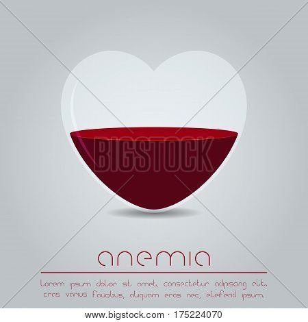 Anemia concept. Heart with red liquid. Vector illustration
