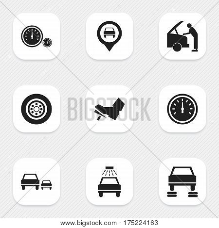Set Of 9 Editable Transport Icons. Includes Symbols Such As Speedometer, Tire, Car Lave And More. Can Be Used For Web, Mobile, UI And Infographic Design.