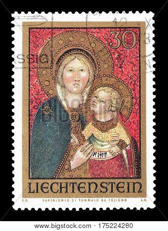 LIECHTENSTEIN - CIRCA 1973 : Cancelled postage stamp printed by Liechtenstein, that shows Madonna.