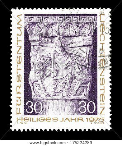LIECHTENSTEIN - CIRCA 1975 : Cancelled postage stamp printed by Liechtenstein, that shows Sculpture.