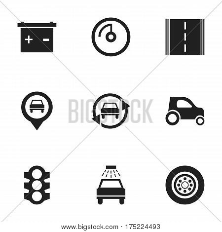 Set Of 9 Editable Car Icons. Includes Symbols Such As Tire, Accumulator, Car Lave And More. Can Be Used For Web, Mobile, UI And Infographic Design.