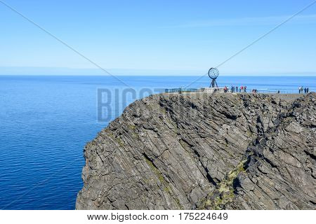 Famous globe on North Cape (Nordkapp) in Finnmark, Northern Norway