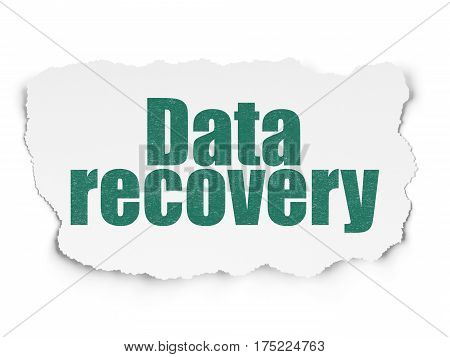 Information concept: Painted green text Data Recovery on Torn Paper background with  Binary Code