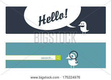 Design elements for the Internet with an interesting cute birdie