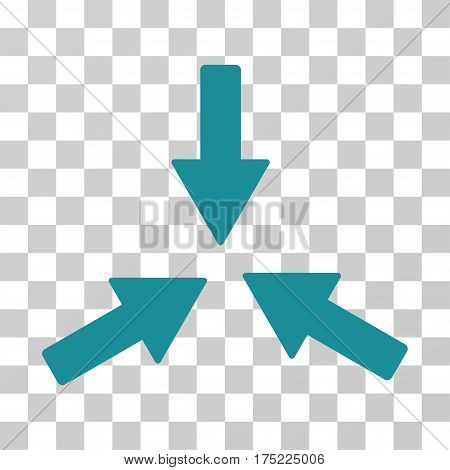 Collide 3 Arrows icon. Vector illustration style is flat iconic symbol soft blue color transparent background. Designed for web and software interfaces.
