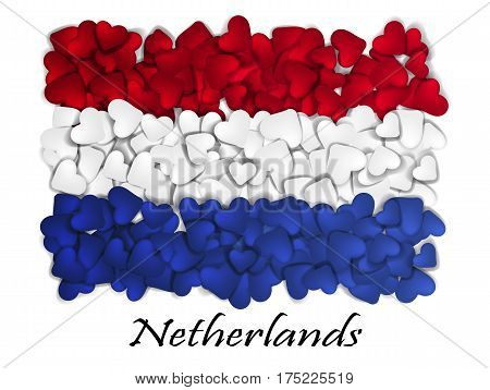 Flag Love Netherlands. Flag Heart Glossy. With love from Netherlands. Made in Netherlands. Netherlands national independence day. Sport team flag. Amsterdam