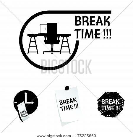 Break Time Icon In Black Color Illustration