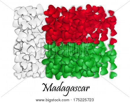 Flag Love Madagascar. Flag Heart Glossy. With love from Madagascar. Made in Madagascar. Flag Madagascar national independence day. Sport team flag.