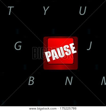 Computer Keyboard With Pause In Red Color Illustration