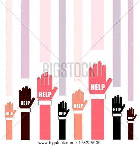 Hands Help Set In Two Color Art Illustration