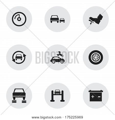 Set Of 9 Editable Car Icons. Includes Symbols Such As Tuning Auto, Race, Treadle And More. Can Be Used For Web, Mobile, UI And Infographic Design.