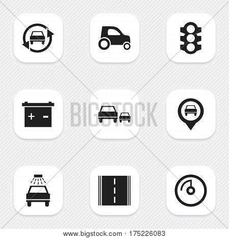 Set Of 9 Editable Vehicle Icons. Includes Symbols Such As Stoplight, Highway, Tuning Auto And More. Can Be Used For Web, Mobile, UI And Infographic Design.
