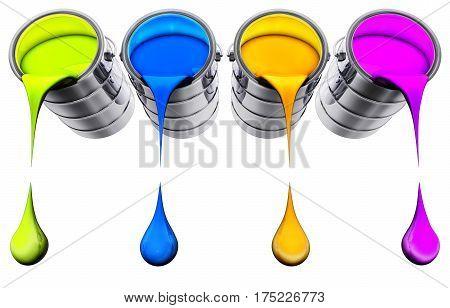 3D rendering of a color pots concept
