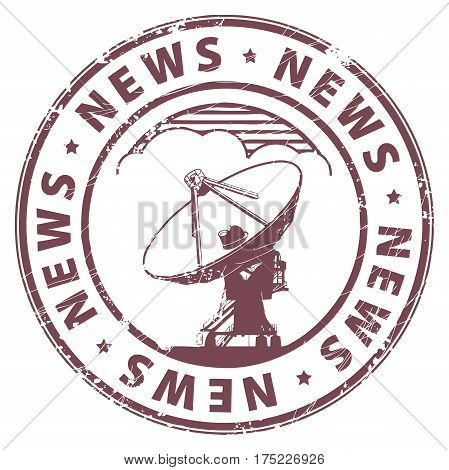 Grunge rubber stamp with radio satellite and the word News written inside the stamp