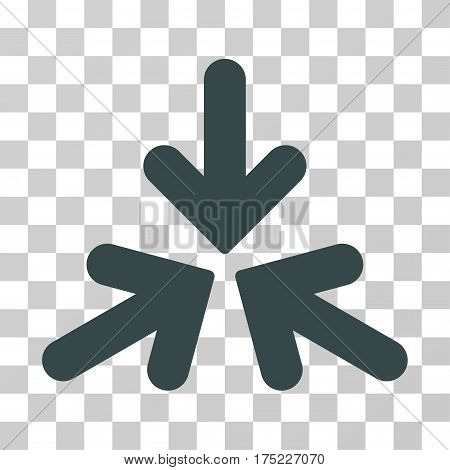Triple Collide Arrows icon. Vector illustration style is flat iconic symbol, soft blue color, transparent background. Designed for web and software interfaces.