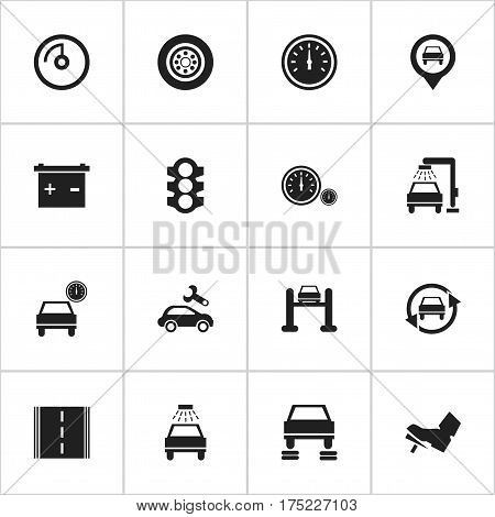 Set Of 16 Editable Vehicle Icons. Includes Symbols Such As Vehicle Wash, Pointer, Accumulator And More. Can Be Used For Web, Mobile, UI And Infographic Design.