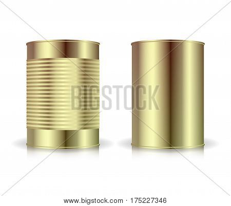 Metallic Cans Vector Set. Gold Tin Can. Blank For Your Design. Realistic Empty Product Packing Template With Shadow