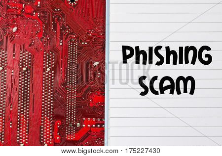 Red old dirty computer circuit board and text concept