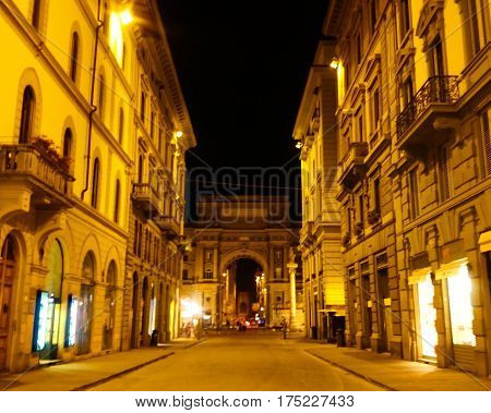 Piazza della Repubblica in the Night, view of the one stret of Florence, Italy