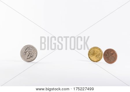 American Quarter Change Versuses Exchanged Converted European Euro 25 Cent White Background Isolated