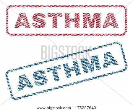 Asthma text textile seal stamp watermarks. Blue red fabric vectorized texture. Vector tag inside rounded rectangular shape. Rubber sign with fiber textile structure.