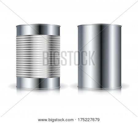 Metallic Cans Vector. Set Metal Tin Can Set Vector