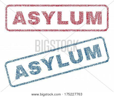 Asylum text textile seal stamp watermarks. Blue red fabric vectorized texture. Vector tag inside rounded rectangular banner. Rubber emblem with fiber textile structure.
