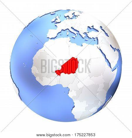 Niger On Metallic Globe Isolated