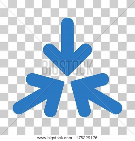 Triple Collide Arrows icon. Vector illustration style is flat iconic symbol, smooth blue color, transparent background. Designed for web and software interfaces.