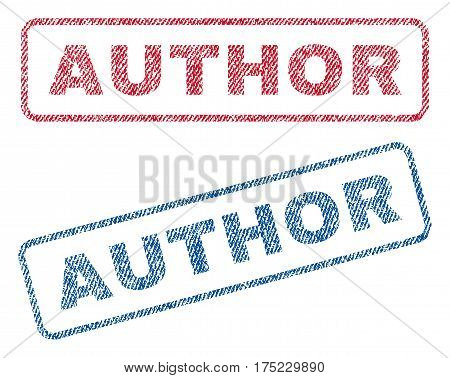 Author text textile seal stamp watermarks. Blue red fabric vectorized texture. Vector caption inside rounded rectangular shape. Rubber emblem with fiber textile structure.