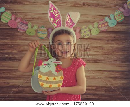 girl holding easter basket with background