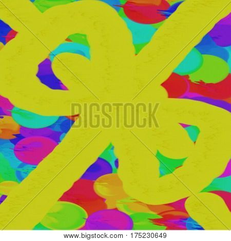 Abstract background of colored red and blue and green spots and a big yellow bow on the canvas of draining paint throughout the drawing